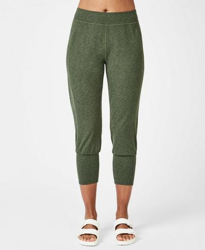 Garudasana Cropped Sweatpants, Olive Marl | Sweaty Betty