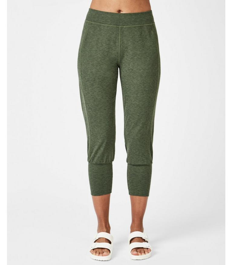 detailed pictures drop shipping on feet at Garudasana Cropped Yoga Pants - Olive Marl | Women's Pants ...