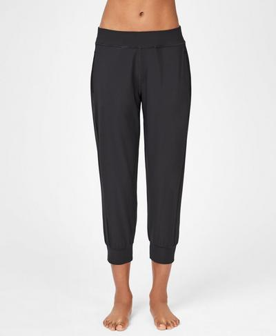 Gary Lightweight Cropped Yoga Pants, Black | Sweaty Betty