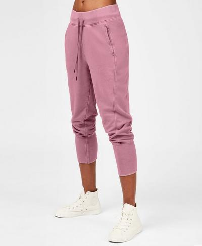 Garudasana Cropped Sweatpants, Heather Rose Pink | Sweaty Betty