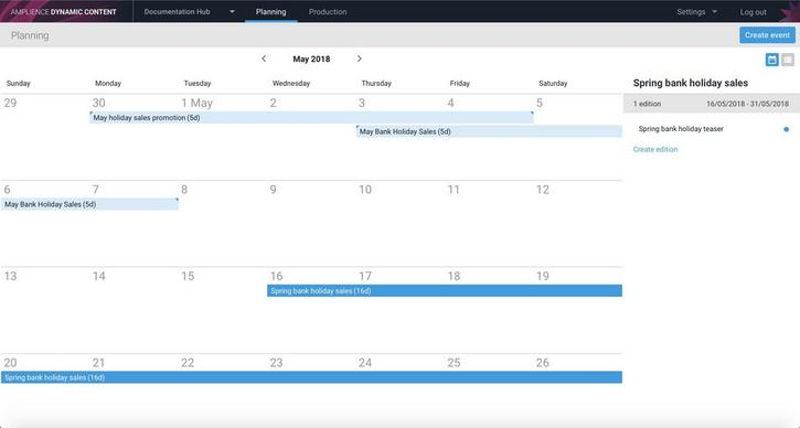 Events and editions in the planning view