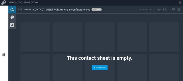 The contact sheet will be intially empty because no variants have been created