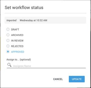 Setting asset workflow status