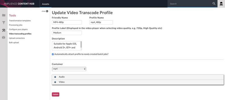 Updating a video transcoding profile