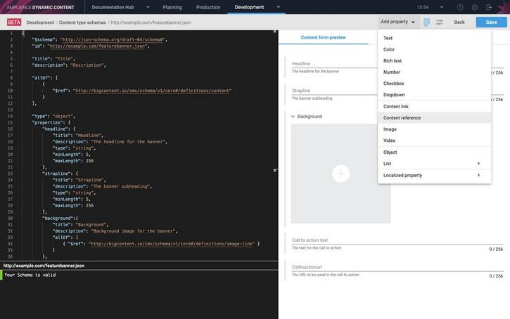 Adding a content reference property using the Schema Editor