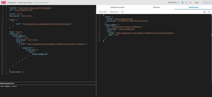 Viewing sample JSON output for a content reference property
