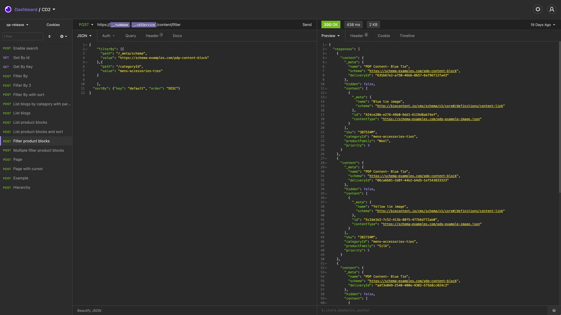 An example filter API request and response.