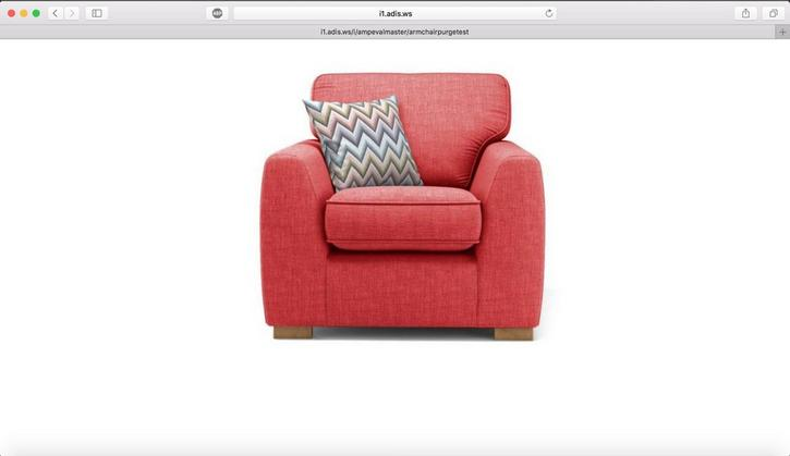 The previous armchair image is still cached, so the red armchair will be retrieved when we load the image URL in the browser.
