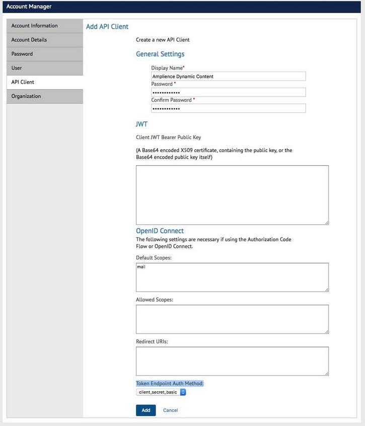 The Add API Client screen in SFCC Account Manager