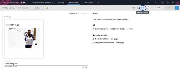 You can also view the edition where this content item is used in the content usage panel