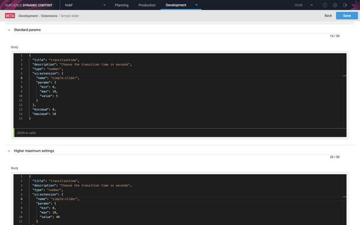 Adding snippets makes it easier to add a property that uses this extension to the schema editor