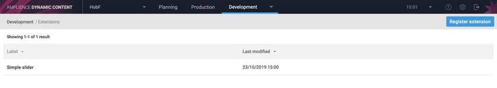 The extensions window showing the slider extension that has just been registered.