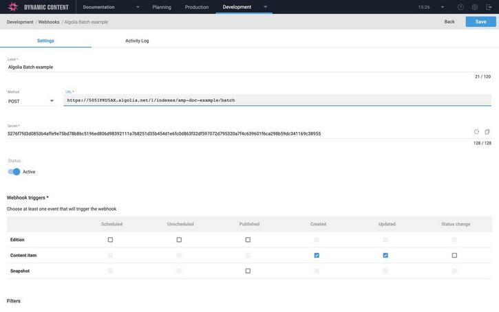 Choose POST as the custom payload and configure the webhook URL to use the Algolia batch endpoint