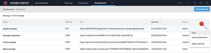 Opening the webhook configuration window for the Algolia webhook