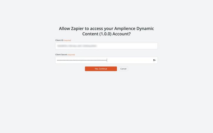 You need to enter your Dynamic Content client ID and secret to connect Zapier