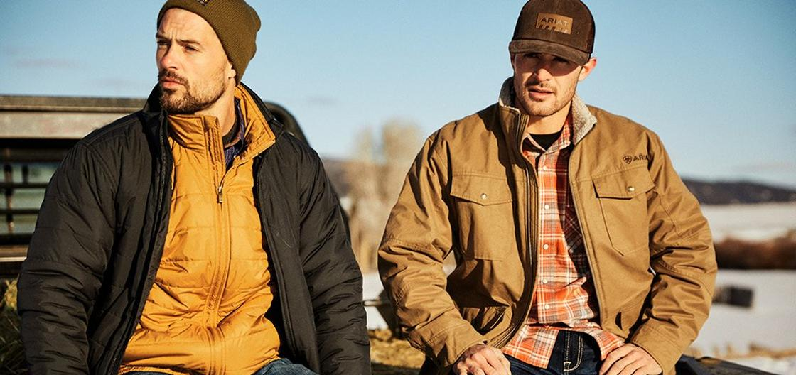 Men in Ariat Jackets and Caps