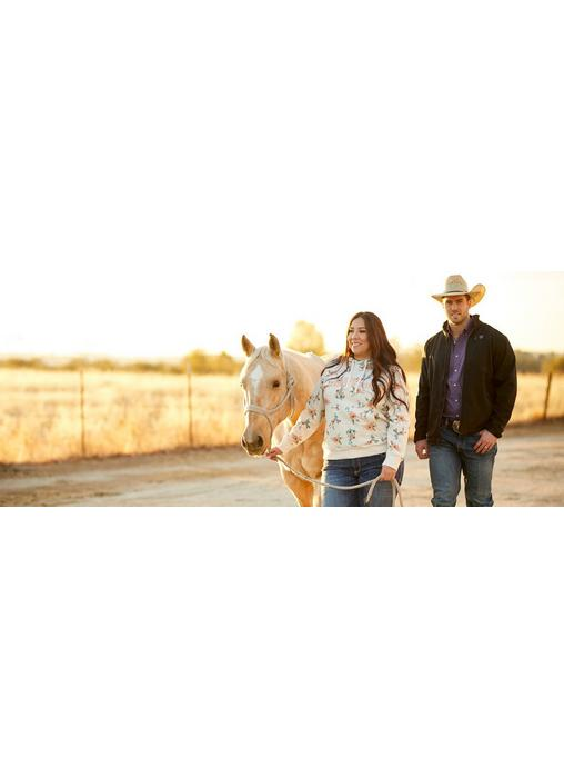 Woman in Floral Ariat Hoodie and Man in Ariat Jacket