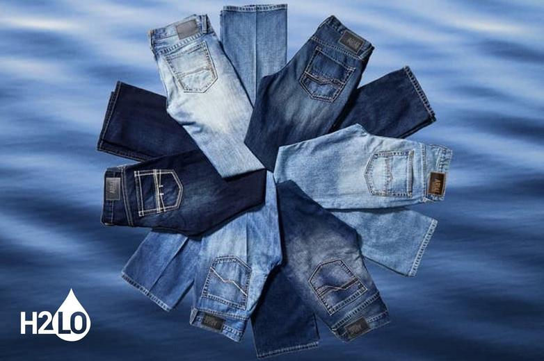 blue water with Ariat denim