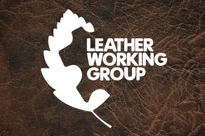 leather background with leather working group logo