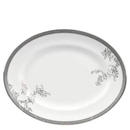 Vera Wang Lace Platinum Oval Dish 39 cm