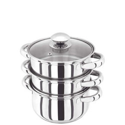 3 Piece Steamer With Glass Lid 16Cm