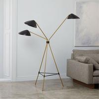 New Curvilinear MidCentury Floor Lamp Black/Brass