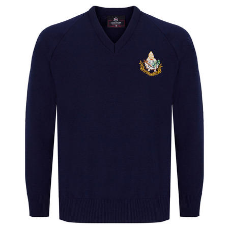 Navy Wool Crested School Jumper
