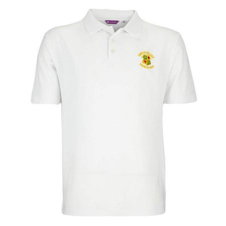 Crested Aertex White Polo Shirt
