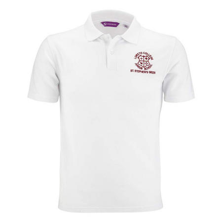 Junior White Crested Aertex Polo Shirt