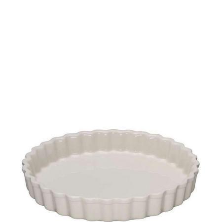 Stoneware Fluted Flan Dish 24 Cm Almond