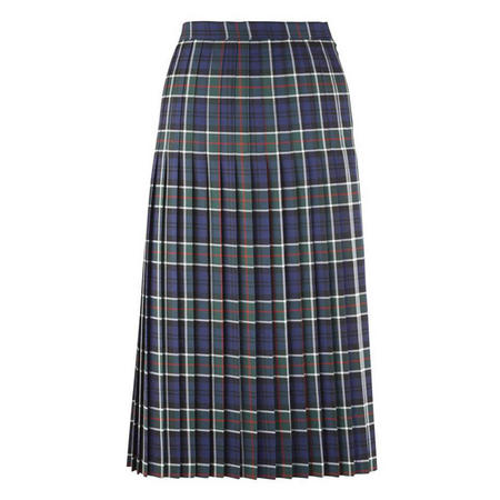 Pleated Tartan Skirt Green
