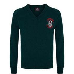 Crested School Jumper Green