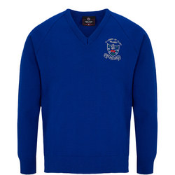 Crested School Jumper Blue