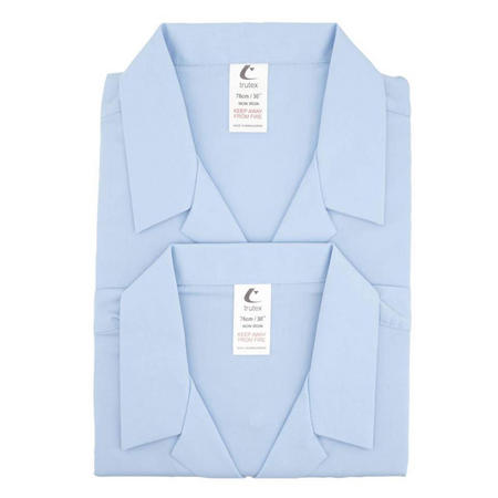 Trutex Twin Pack Revere Collar Short Sleeve Blue
