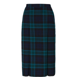 Navy Wool Tartan Girls School Skirt