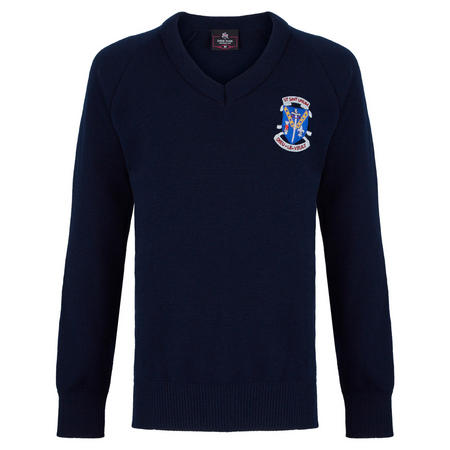 Crested School Jumper Navy