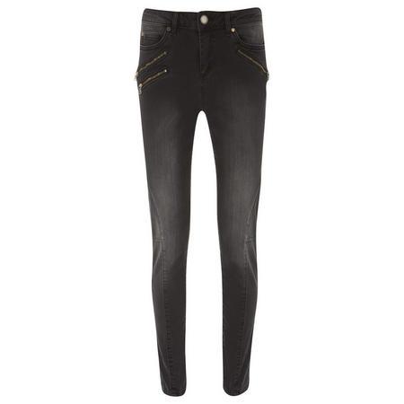 Phoenix Washed Black Skinny Biker Jeans Black