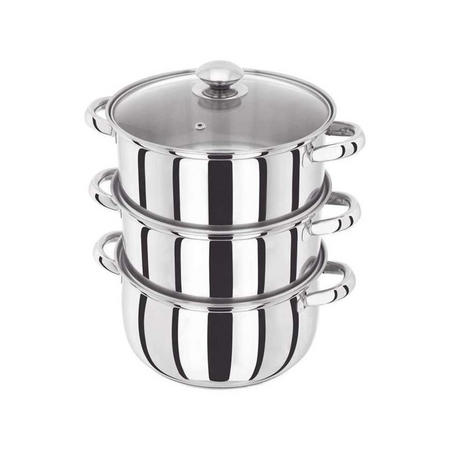 3 Piece Steamer With Glass Lid 22Cm