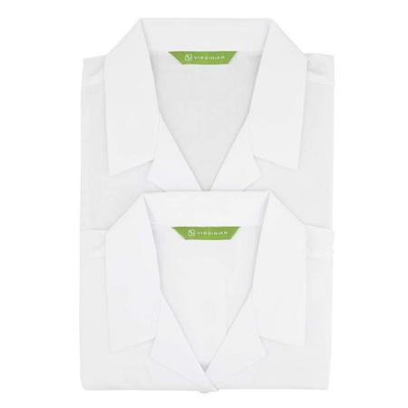Two-Pack Short Sleeve Revere Blouse White