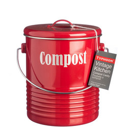 Vintage Kitchen Red Compost Caddy