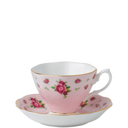 New Country Roses Pink Vintage Teacup & Saucer