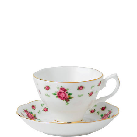 New Country Roses White Vintage Teacup & Saucer