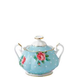 Polka Blue Vintage Covered Sugar Bowl