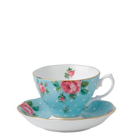 Polka Blue Vintage Teacup & Saucer
