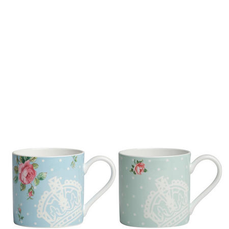 Polka Blue / Polka Rose Set of 2 Mugs