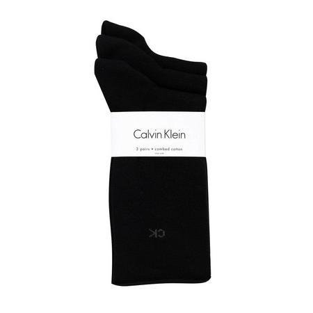 3 Pair Roll Top Crew Socks Black