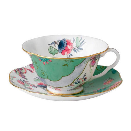 Butterfly Teacup And Saucer Green