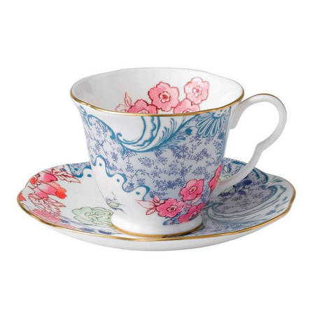 Butterfly Teacup And Saucer Blue And Pink