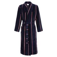 Aston Striped Bath Robe Mid Blue