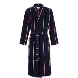 Aston Striped Bath Robe Mid Blue